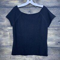Banana Republic Size XL Wool Angora Blouse Top Shirt Sweater Short Sleeves Black