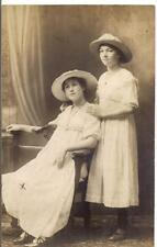 Lovely Girls Young Women In Matching Cotton Dresses Hats 1910s Photo Postcard