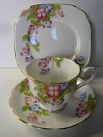 ROYAL ALBERT CLEMENTIS FLORAL TRIO CUP SAUCER PLATE CROWN BONE CHINA ENGLAND