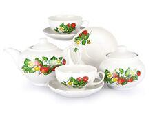 Russian Porcelain Tea set Dulevo Strawberry 6 pers 14 pc Kuznetsov Porcelain