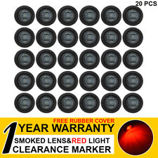 "20 X 3/4"" Smoked Lens Red LED Bullet Side Marker Rear Light Truck Bus RV Trailer"