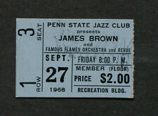 1968 James Brown Famous Flames Concert Ticket Stub Penn State Godfather of Soul