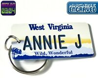 Personalized West Virginia Keychain - License Tag - Custom Engraved - Vintage