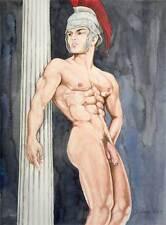 Oh boy, homme nu, watercolor print nude male Spartan Greek gay interest