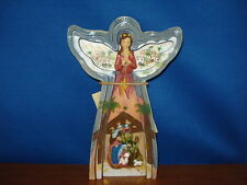 Nativity Angel with Holy Family diorama 8.25 inches tall