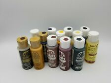 Lot 13 Folk Art Metallic Acrylic Craft Paint Sealed Net 2 fl. oz./59ml. Each