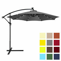 BCP 10ft Solar LED Patio Offset Umbrella w/ Hand Crank, Easy Tilt