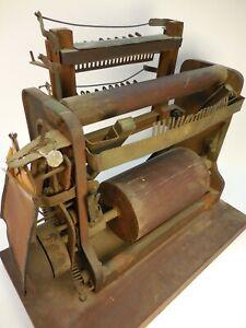 ANTIQUE WALMSLEY 1870 PATENT MODEL - WARPING BEAMING YARN - OLD TEXTILE MACHINE