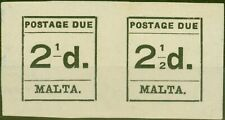 Malta 1925 2 1/2d Black SGD5a 2 Omitted in 1/2 in Pair with normal Fine Mtd Mint