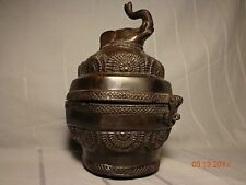 Old Brass Elephant Jar Pot Urn Censer Lid Latch Bronze Tibetan Asian (Ancient?)