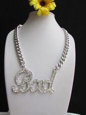 New Women Silver Metal Chains Fashion Necklace BAD Phrase Pendant Ubran Hip Hop