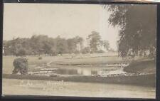 REAL PHOTO Postcard LODI Ohio/OH  Woodlawn Park Cemetery Lake/Pond 1910's
