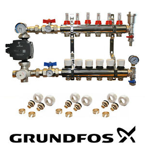 WATER UNDERFLOOR HEATING KIT MANIFOLDS 2 TO 8 PORTS A RATED GRUNDFOS  PUMP PACK.