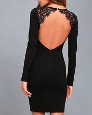 Lulus Womens Long Sleeve Bodycon Dress Lace Open Back Size XS Black (C1X)