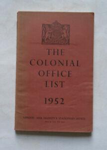 THE COLONIAL OFFICE LIST 1952: Territories Overseas / Aden / Hong Kong / Map .