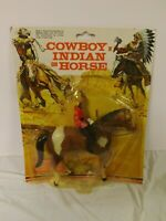 Vintage Cowboy and Indian On Horse Statue Figure Toy In Original Package