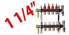"""4 Loop 1 1/4"""" PEX Manifold Radiant Floor Heating Stainless Steel and Connectors"""