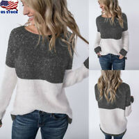 Womens Long Sleeve Knitted Pullover Casual Loose Sweater Jumper Sweatshirt Tops