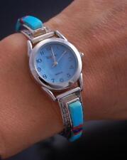 Silver Turquoise Multistone Inlay Women's Watch Bracelet by Leander Dawes 7B14Z