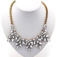 EG_ Women Luxury Clear Crystal Drop Flower Statement Choker Bib Necklace Healthy