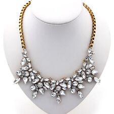 FT- Women Luxury Clear Crystal Drop Flower Statement Choker Bib Necklace Healthy