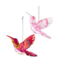 Set of 2 PINK & BURGUNDY HUMMINGBIRD Acrylic Christmas Ornaments by Kurt Adler