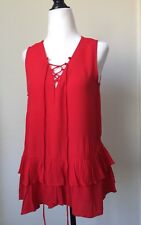 RO&DE Red Blouse Top Sleeveless Shirt Small Lace Up Front