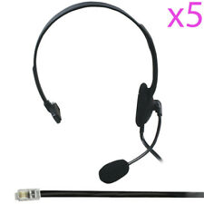 5x RJ9/RJ10/RJ22 Telephone Phone Headset Headphone & Microphone/Mic -Call Centre