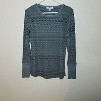 Orvis Shirt XL Thermal Long Sleeve Printed Waffle Knit Gray Black Fitted