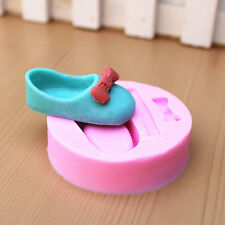Cute Mini Baby Shoes & Bow Silicone Fondant Mold DIY Cake Soap Fimo Baking Mould