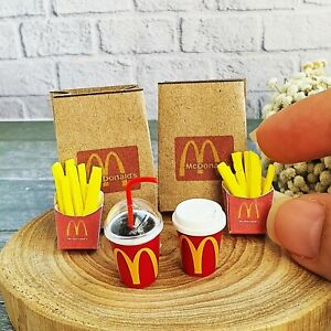 Dollhouse Miniatures McDonald Fast Food French Fries Coke COCA-COLA Cup Soda Set