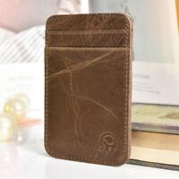 Genuine Brown Leather Mens Small ID Credit Card Wallet  Holder Slim Pocket Case