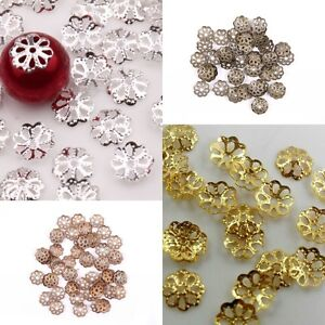 Wholesale 500pcs Silver/Golden/Black/Bronze Metal Flower Style Bead Caps 6mm