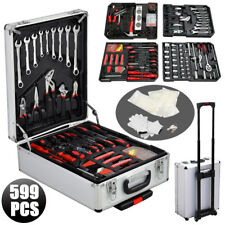 599pcs Hand Tool Kit Mechanics Metric Ratchet Wrench Set Trolley Castors Box