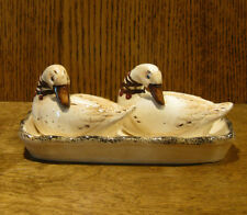 Transpac #C4967 CERAMIC GEESE SALT & PEPPER SET w/ TRAY, NIB From Retail Store
