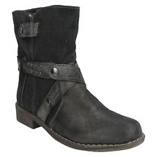 LADIES WOMENS SPOT ON ROUND TOE BLACK ZIP UP WINTER CASUAL ANKLE BOOTS F50051