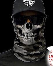 Salt Armour Grey Military Camo Skull Face Shield Sun Mask Balaclava Neck Gaiter
