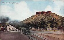 Colorado postcard Castle Rock train at station depot railroad RR