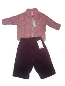 Gymboree Baby Boy Outfit 3-6 Months Black Corduroy Pants & Red Plaid Shirt NEW
