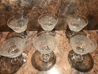 Set of 6 Vintage Echted Clear Glass Footed Ice Cream Sherbet Dessert cup