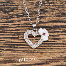 Heart Nurse Cap Glitter Crystal Silver Necklace Simple Style Healing Jewelry