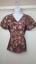 Womens Scrub Top Size M Short Sleeve Side Pockets V-Neck Brown w/Flowers Cheroke