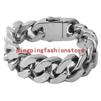 """Heavy Jewelry Stainless Steel Silver Cuban Curb Chain Men Boy Bracelet 8.5""""*20mm"""