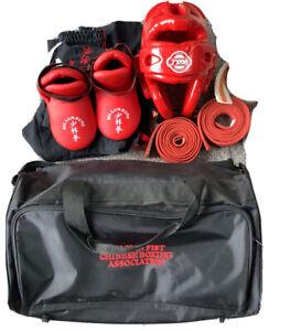 Kids Medium Martial Arts Uniform Medium Head Protector Foot Protector Bag Belts