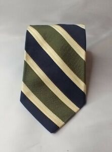 """Faconnable Wooven yellow blue & green striped tie 4"""" wide made in France"""