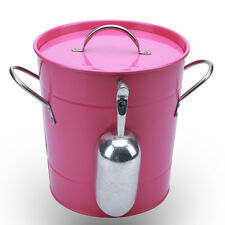 T586 Pink Metal 4L Ice Bucket Double Walled Champagne Beer With Scoop & Lid