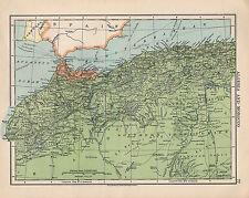 1925 MAPPA ~ Africa ~ Algeria & Marocco ~ stretto di Gibilterra