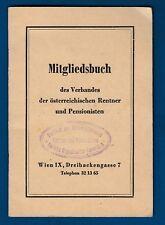 Mitgliedsbuch, Austria Wien 1962. Id card, Member Card, Document tax MARK stamp
