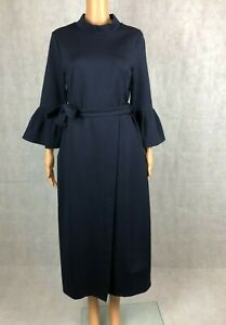 Navy Blue Stylewe Misslook Bell Sleeve High Neck Wrap Dress US 10, UK14, EUR 42