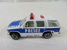 Matchbox Diecast 1997 Chevy Tahoe Police SUV White and Blue 1:67 Scale #6697